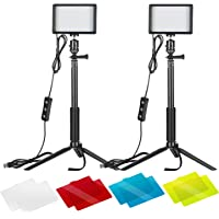 Neewer 2パック調光可能な5600K USB LEDビデオライト 調節可能な三脚スタンド/カラーフィルター付き 卓上/ローアングル撮影、カラフルなLED照明、商品、肖像画、YouTubeビデオ写真撮影対応