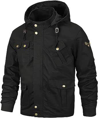 [SUKUTU] メンズジャケット メンズミリタリージャケット 長袖 着脱式フード ブルゾン カーゴ アウター バイク用 コート 防風 春 秋 冬