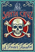 Santa Cruz、カリフォルニア – Skull And Crossbones 24 x 36 Giclee Print LANT-52605-24x36