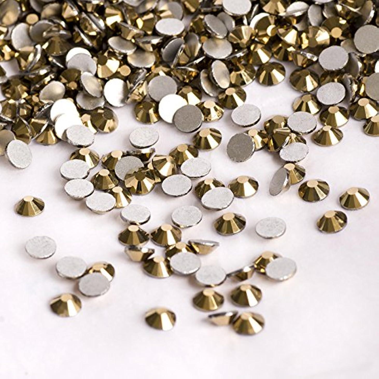 ランダム等受粉する高品質ガラス製ラインストーン ゴールド 業務用パック1440粒入り ネイル デコ レジンに (2.4mm (SS8) 約1440粒) [並行輸入品]