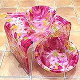 ★艶やかピンクローズ・薔薇のバスグッズ3点洗面器(深型L)セット ≪Glamorous-Rose≫バスチェア+洗面器(深型L)&手桶 'くっきりと大胆な薔薇'がとってもかわいい♪風呂椅子