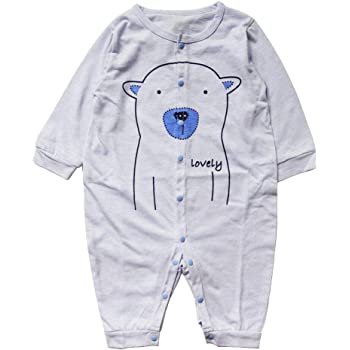 318e499aeebae Domybest ロンパース ベビー服 女の子 男の子 赤ちゃん 新生児 長袖 長ズボン 春 夏 秋 前開き パジャマ