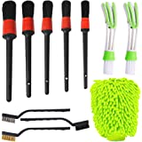 AIFUDA 5 Pcs Detailing Brush Set with Wire Brush, Car Wash Mitts, Car Cleaning Brush Kit for Auto Detailing Cleaning Car Moto
