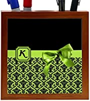 Rikki Knight Letter K Lime Green Monogram Damask Bow Design 5-Inch Tile Wooden Tile Pen Holder (RK-PH41888) [並行輸入品]