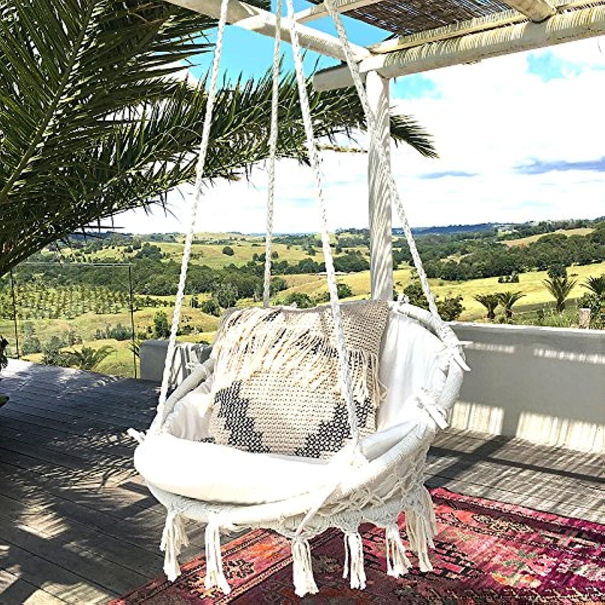 フェンス正当な叱るハンモックチェア-KINDEN マクラメ編みハンギングチェア 吊り下げ式 大人&子供兼用 耐荷重120kg 屋外/室内用ロープハンモックチェア