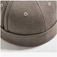 CHENDX High Quality Hat, New Men and Women Cotton Beret Cap Cuffed Hat Tide Card Hat Country Tide Solid Color Chinese Style Casual Wild Dome Short Edge Hat (Color : Brown, Size : 56-60CM)