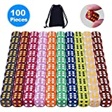 Austor 100 Pieces 6-Sided Game Dice Set (Free Pouch), 10 Pearl Colours Rounded Edges Dices for Tenzi, Farkle, Yahtzee, Bunco or Teaching Math