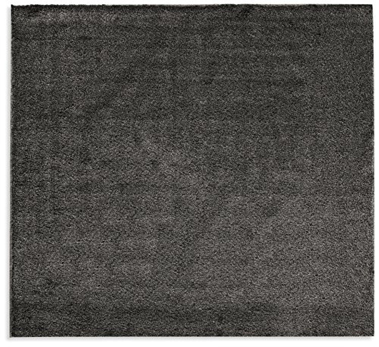 オーダーラグ ラグジュアリーシャギー ブラック 幅60cm 長さ245cm アレルブロック 防炎