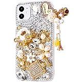 iPhone 11 Heart Pendant Pumpkin Car Case,iPhone 11 Rhinestone Case,3D Handmade Original Gemstone Crystal Bling Glitter Diamon
