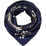 "corciova 35"" Large Women's Satin Square Silk Feeling Hair Scarf Wrap Headscarf Navy Floral Flowers Pattern"
