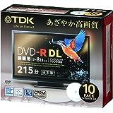TDK 録画用DVD-R DL(215分) デジタル放送録画対応(CPRM) ホワイトワイドプリンタブル 2-8倍速 日本製 5mmスリムケース 10枚パック DR215DPWB10S