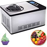 LKNJLL Stainless Steel Ice Cream Maker,2.1-Quart, Fruit Ice Cream Machine Comes with Compressor Refrigeration Stainless Steel