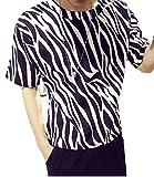 メンズ Tシャツ ゼブラ柄 アニマル柄 アニマルプリント プリントTシャツ シンプル モノトーン シンプル 半袖 ゆったり ラフ ラウンドネック カジュアル ストリート おしゃれ 吸汗 K7777 (L, ブラック)