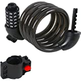 PIONEERS Bike Cable Lock Anti Theft 5-Digit Combination Design for Road Mountain Cruiser Bicycles