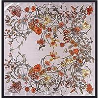 CATYAA エレガントなレディースシルクスカーフ花のサテンプリントスクエアスカーフ女性のシングルスカーフショールスクエアスカーフ (Color : Paragraph 3, サイズ : 90 * 90cm)