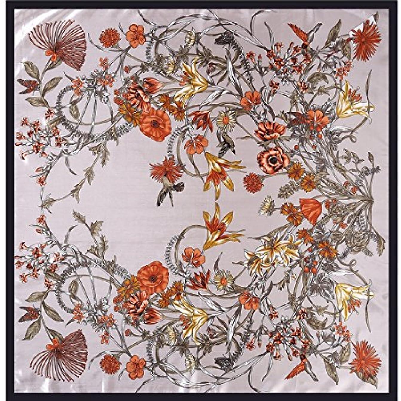 ベッドを作る賢い感心するExonlyone エレガントなレディースシルクスカーフ花のサテンプリントスクエアスカーフ女性のシングルスカーフショールスクエアスカーフ