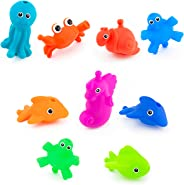 Sassy Snap and Squirt Sea Creatures - 6+ Months Set of 9 Sea Characters That squirt, Float and Snap Together Includes Fishbowl Storage Bag With Two Large Suction
