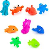 Sassy Snap and Squirt Sea Creatures - 6+ Months Set of 9 Sea Characters Includes Storage Bag with Two Large Suction Cups