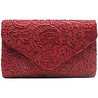 Cckuu Womens Floral Lace Envelope Clutch Handbag Shoulder Evening Shoulder Bag