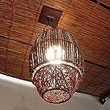 バリウッド・アジアンランプ・バリ照明:上下にぐにぐにラタンでヤシの枝ミックス天然素材いっぱいなランプ!