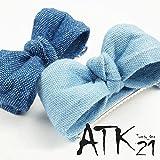 [ATK21] デニム リボン ガーリー フォーククリップ 前髪 ヘアクリップ ヘアアクセサリー レディース 大人可愛い(ブルー)