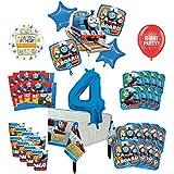 Mayflower Products きかんしゃトーマス タンクエンジン 4歳の誕生日パーティー用品 16ゲストデコレーションキットとバルーンブーケ