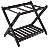 Luggage Rack, Folding Luggage Rack for Guest Room, Bedroom, Hotel (Black),with Shoe Shelf
