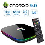 Android 9.0 TV Box,Q Plus Android Boxes with 4GB RAM 64GB ROM Quad-core H6 Support 6K Full HD Wi-Fi 2.4Ghz USB 3.0 H.265...