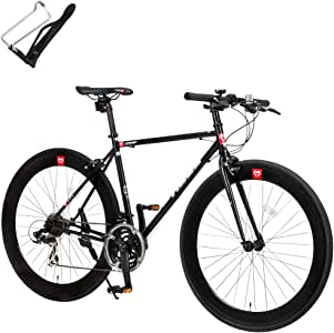 クロスバイク 自転車 ボトルケージセット 21段変速 クロモリフレーム 60mmディープリム CAC-024 HEBE ブラック 29410