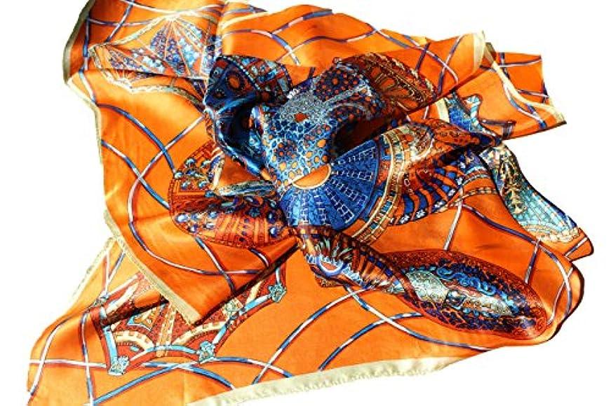 回復する雪だるまを作る歯痛シルクスカーフ90cm Sk-93 O (オレンジ)