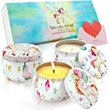 LA BELLEFÉE Aromatheraphy Candle Gift Set Dream Unicorn 4.4oz Scented Candle Fantasy (Berry Party), Miracle (nectarine with h