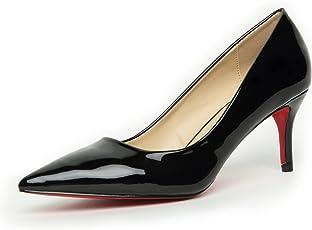 [メールコション] パンプス エナメル ハイヒール ポインテッド ピンヒール レッドソール ポインテッドトゥ 美脚 ソフトクッション 靴 レディース