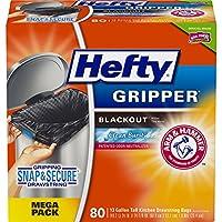 Hefty Gripper ゴミ箱/ゴミ袋 (クリーンバースト、臭いコントロール、キッチン引き紐、13ガロン、80個)