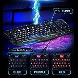 AGPtek® 3カラー(ブルー、紫、レッド)LEDバックライト切り替えキーボード 防水*USB有線キーボード ゲーミングキーボード ノートパソコンキーボード