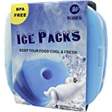 WORLD-BIO Ice Freezer Packs for Lunch Box Cooler, Reusable Cool Refreeze Blocks for Lunch Bags, Keeps Food Cold & Fresh - Gre