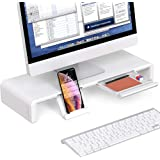 Foldable Monitor Stand Riser, Computer Laptop Riser Shelf with Organizer Drawer, Adjustable Length, Speaker TV PC Laptop Comp