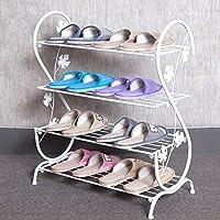 LIZHUQIANG シンプルなシンプルなマルチ世代の家庭近代的なヨーロッパスタイルの経済鉄の寮の家庭用靴棚の収納小さな靴のラック棚の靴 ( 色 : 白 )