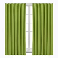 Bedsure カーテン 1級遮光 グリーン 小窓 ドレープカーテン 緑 幅100cm丈110cm 2枚組 斷熱 保溫…