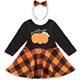 SEVEN YOUNG Infant Toddler Baby Girls Clothes Red Plaid Dress Long Sleeve Skirt with Bowknot Headband Fall Party Dress
