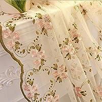 AiFishピンク花の刺繍 薄手のカーテン カントリースタイル 美しいエッジ ロッドポケット 子供部屋 田舎風レース カーテン パネルウィンドウ ボイルドレープ リビングルームに 1パネル 長さ63インチ W52 x L63 inch