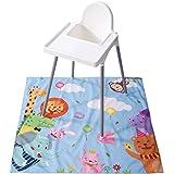Winthome Highchair Splash Mat Baby, Paint Splash Mat Large, Protective Floor Splash Mat, Waterproof and Anti Slip (Zoo)
