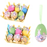 2.3inch Paper Mache Egg Hanging Ornaments Easter Decoration with Basket, Pack of 12PCS with Different Vintage Bunny Pattern f