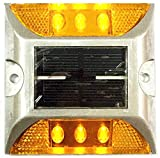 BlueField ソーラーLED道路警告ライト 黄色 太陽充電 防水