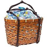(キョウエツ) KYOETSU かわいい竹かご巾着バッグ 浴衣 和柄 レトロ kg-06 (かご-茶×ブルー系)