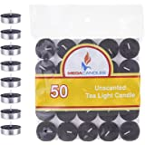 Mega Candles 50 pcs Unscented Black Tea Lights Candle, Pressed Wax Candles 3.5 Hour Burn Time, for Home Décor, Wedding Recept