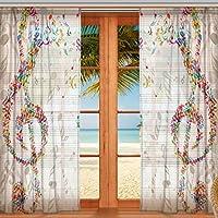 マキク(MAKIKU) ミラーレースカーテン 遮光 断熱 遮熱 レースカーテン 出窓 ドアカーテン 音符 音楽 ホワイト おしゃれ シェードカーテン UVカット 薄い 目隠し 幅140cm×丈200cm 2枚組