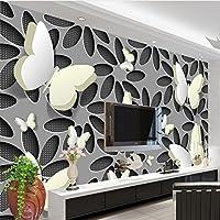 Weaeo カスタム壁紙壁画3Dステレオスコピックバタフライ花壁の壁画現代抽象的なアート壁紙壁紙リビングルームテレビ-350X350Cm