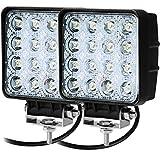 CooAgo LEDワークライト オフロード 防水作業灯 CREE製 48W 16連10-30VDC対応 12V/24V兼用 白 2個セット