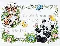 "Baby Hugs Baby Animals Birth Record Stamped Cross Stitch Kit-12""X9"" (並行輸入品)"