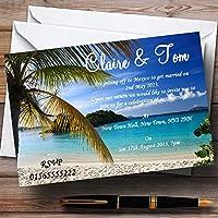 Palm Tree Beach海外Personalizedウェディング招待状 20 Invitations